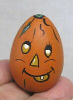 Vintage Halloween Miniature Hand Painted Wood JOL Initialed Dated 1993 Unique