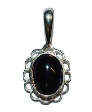 Sterling Silver & Oval Onyx Fancy Pendant