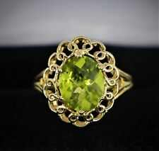 $975 UTC 10K Solid Yellow Gold Oval Green Stone Cocktail Anniversary Ring Band 7