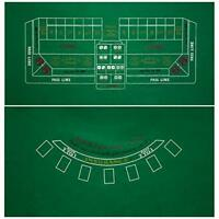 "2-Sided 36"" x 72"" Green Craps & Blackjack Casino Gaming Table Felt Layout Mat"