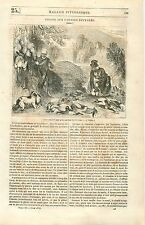 Chasseurs Chasse aux Canards Sauvages France GRAVURE ANTIQUE OLD PRINT 1835