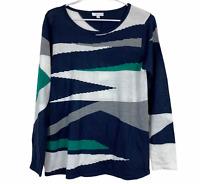 W Lane Womens Blue Long Sleeve Tight Knit Jumper Size M