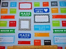 Cotton Fabric BTY By Yard Made For You Quilt Labels on Light Gray Kaufman Bolt
