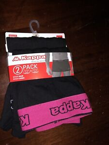 KAPPA BOXER SHORTS TWIN PACK GENUINE SMALL 34 1 X BLACK 1 X RANDOM COLOUR BAND