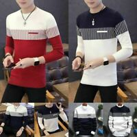 Casual Men's Knitwear Warm Neck Strip Round Sweater Pullover Tops Jumper Coat