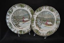 Johnson Bros Friendly Village Square Salad Plate School House 2 Dinner Plates