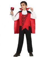 Déguisement Garçon VAMPIRE Dracula Noir Rouge 5/6 ans Enfant Halloween NEUF