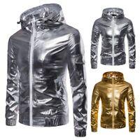 New Men's Zip Up Biker Motorcycle Leather Slim Hoodie Hooded Coat Jacket Outwear