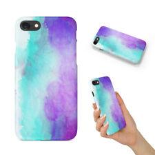 Púrpura Verde Azulado Acuarela 68 teléfono duro funda para Apple iPhone