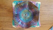 Northwood Amethyst Carnival Glass Bowl: Basketweave Outside Stippled Rays Inside