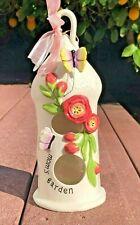 Blue Sky Clayworks Ceramic Bird Feeder Birdhouse Candle Holder Mom's Garden Gift