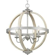 Progress Lighting Keowee 4-Light Galvanized Orb Chandelier with Antique White Wo