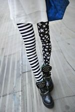 Graffiti fashion milk silk striped black and white stitching leggings wild Stars