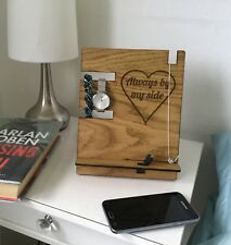 Phone Stand Watch Charging Holder Oak Bedside Table Tidy Dock Personalised Wood