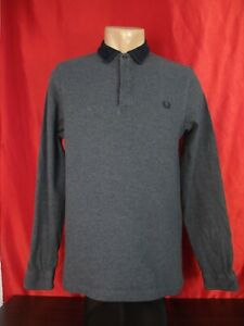 Fred Perry M7317 Mens M Medium Polo Shirt Gray Long Sleeves Collared 20""