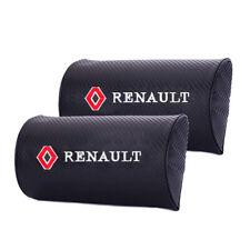 2x Carbon Fiber Car Logo Auto Seat Neck Pillow Cushion Headrest for Renault