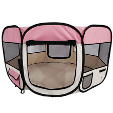 "45"" Kennel Pet Fence Puppy Soft Oxford Playpen Exercise Pen Folding Crate Pink"