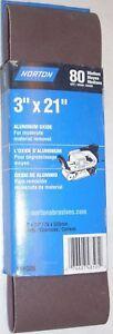 2 Norton 48505 Sanding Belts 3 x 21 Aluminum Oxide 80g USA Made