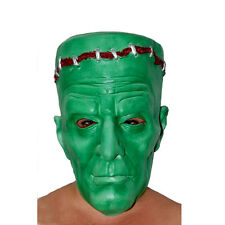 Rubber Frankenstein Face Mask Green Halloween Monster Green w/Blood Scary Ogre