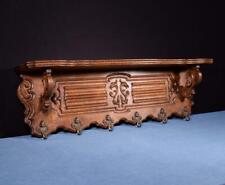 """*40"""" Vintage French Oak Coat Rack Hall Tree Wood Shelf w/Brass Hooks"""