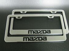 2 Brand New MAZDA chromed METAL license plate frame +screw caps