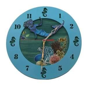 "Mermaid 13"" Wall Clock Ocean Themed Handmade Wood Perfect Marine Biologist Gift"