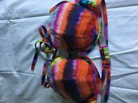 Victoria's Secret Women Multi Color Swim Push Up Bra Top Size 36 D Pool Sexy