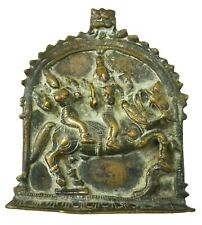 Old Temple Piece Hindu Lord Shiva Parwati Brass Panel Collectible Art