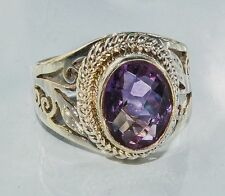 Sterling Silver Traditional Asian Vintage Style Amethyst Stone Ring Size N Gift