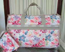 LeSportsac Large Weekender Waterlily Garden Floral Travel Bag Cosmetic Pouch NWT