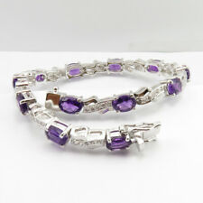 925 Solid Silver AMETHYST Lovely Stone Stylish Bracelet 7.4 Inches Free Gift Box