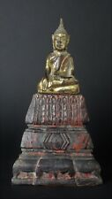 Antique 19th. Century Wooden Lacquered and Gilded Ayuthaya Style Buddha Statue