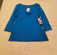 NWT Reba Women's Turquoise Blouse Top Shirt 3/4 Sleeve V Neck. Size XL