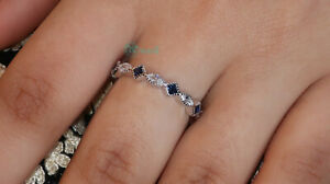 Solid 925 silver Wedding Engagement band-Simulated Sapphire Full Eternity ring