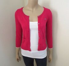 Hollister Womens Cardigan Sweater Size Small Hot Pink Top Shirt 3/4 Sleeve