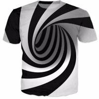 Mens Funny 3D Summer Wear Spiral Maze Vertigo Hypnotic Short Sleeve T-Shirt Tops