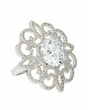 Large CZ by Kenneth Jay Lane Rhodium Plated Round Crystal with Pave Lace Ring