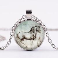 EG_Damenmode kreativ Glas Pferd Anhänger lange Halskette Schmuck Stil