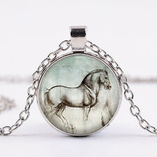 Ladies Fashion Creative Glass Horse Pendant Long Chain Necklace Jewelry Stylish