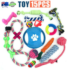 15 X Dog Rope Toys Kit Tough Strong Chew Knot Ball Pet Puppy Bear Cotton Toy AU!