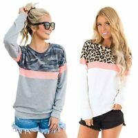 Pullover Blouse Long Sleeve Casual Crew Neck Top Ladies T-Shirt Leopard Print