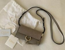 Chloe Faye Mini Chain Grey Leather Suede Bag New Authentic