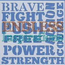 "6""x6"" Endless Inspirations Stencil, Brave Words - Free US Shipping"