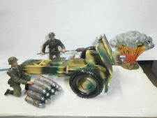 2 vecchie Elastolin massa soldati con protetti + granatstabel + Taglio a 7.5cm