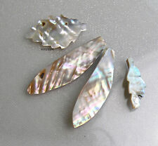 Large Carved Leaf Mother of Pearl Focal Beads 4 Pcs MOP #AUC