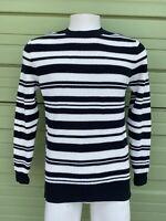 NWT ZARA Black and white MAN Striped sweater round neck long sleeve M E55