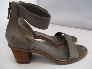 Frye Brielle Women's Size 9 Ankle Strap Sandals Gray Leather Back Zip Block Heel