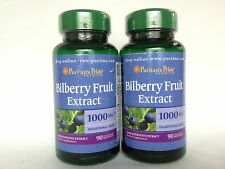 180 Softgels Puritan's Pride Bilberry Fruit Extract 1000mg  *Support Eye Health*