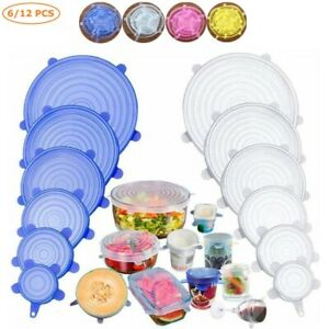 6 Pack Reusable Silicone Stretch Lids Food Bowl Stretch Storage Dish Covers