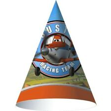 DISNEY PLANES CONE HATS (8) ~ Birthday Party Suppies Paper Favors Orange Blue